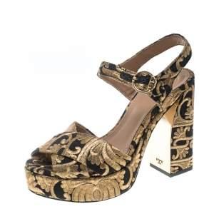Tory Burch Gold/Black Brocade Fabric Loretta Sandals Size 36.5