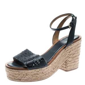 Tory Burch Blue Laser Cut Leather Roselle Espadrille Platform Sandals Size 39.5