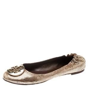 Tory Burch Metallic Gold Foil Textured Suede Reva Ballet Flats Size 37.5