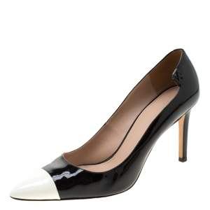 Tory Burch Monochrome Patent Leather Cap Toe Elizabeth Pointed Toe Pumps Size 39.5