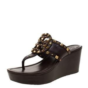 Tory Burch Brown Leather Marissa Studded Wedge Sandals Size 37