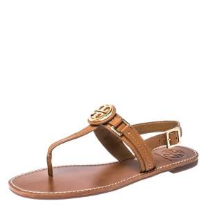 Tory Burch Brown Leather Everly T-Strap Flat Sandals Size 38.5
