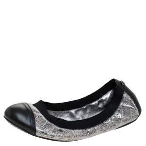 Tory Burch Silver/Black Quilted Leather Garter Ballet Flats Size 36