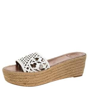 Tory Burch White Cutout Leather Espadrille Wedge Platform Sandals Size 39