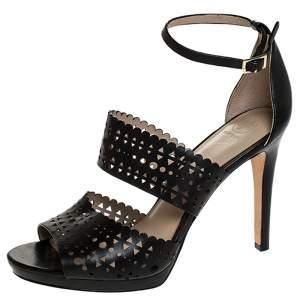 Tory Burch Black Laser Cut Scalloped Trim Leather Platform Ankle Strap Sandals Size 40