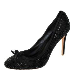 Tory Burch Black Suede Crystal Embellished Bow Round Toe Pumps Size 41