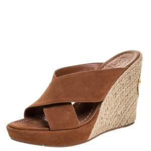 Tory Burch Brown Leather Wedge Cross Strap Platform Slides Size 37