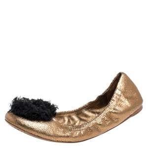 Tory Burch Metallic Bronze Crackled Leather And Black Fabric Flower Scrunch Ballet Flats Size 40
