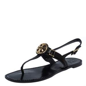 Tory Burch Black Leather Logo Detail Thong Slingback Sandals Size 39.5