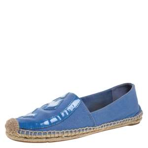 Tory Burch Blue Denim And Patent Leather Poppy Logo Espadrilles Size 38.5