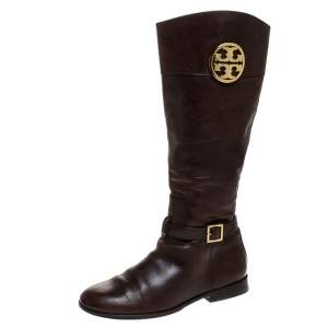 Tory Burch Brown Leather Knee Length Boots Size 39.5
