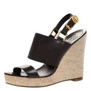 Tory Burch Dark Brown Leather Kimberly Platform Wedges Sandals Size 37