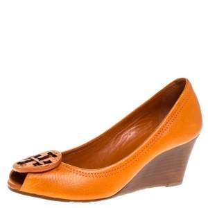 Tory Burch Orange Leather Logo Wedge Peep Toe Pumps Size 36.5