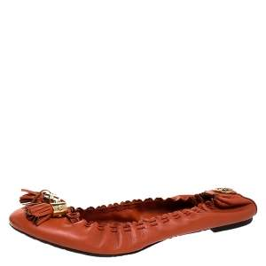 Tory Burch Orange Leather Tassel Scrunch Ballet Flats Size 39.5
