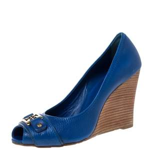 Tory Burch Blue Leather Caroline Scrunch Wedge Peep Toe Pumps Size 38.5