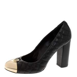 Tory Burch Black Quilted Leather Metal Cap Toe Pumps Size 38.5