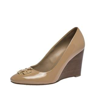 Tory Burch Beige Patent Leather Lowell New Logo Wedge Pumps Size 37