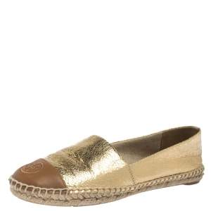 Tory Burch Gold Crackle Leather And Brown Leather Cap Toe Espadrilles Size 38