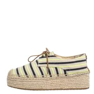 Tory Burch Multicolor Striped Canvas Florence Espadrille Flat Sneakers Size 36