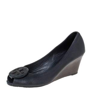 Tory Burch Blue Leather Logo Peep Toe Pumps Size 38.5