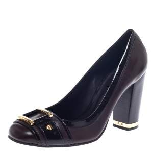 Tory Burch Brown Leather and Patent Leather Block Heel Pumps Size 38.5