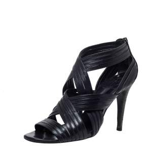 Tory Burch Black Leather Strappy Caged Sandals Size 37.5