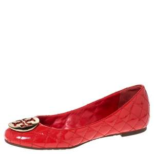 Tory Burch Red Quilted Leather Quinn Ballet Flats Size 37