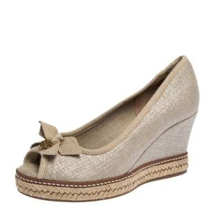 Tory Burch Beige Canvas Jackie Bow Peep Toe Wedge Espadrille Pumps Size 35.5