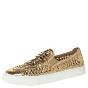 Tory Bruch Gold Woven Leather Huarache Slip On Sneakers Size 40
