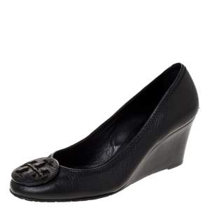 Tory Burch Black Leather Chelsea Wedge Pumps Size 39