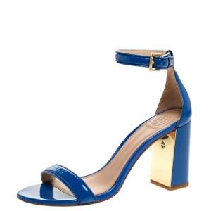 Tory Burch Blue Patent Leather Cecile Block Heel Ankle Strap Sandals Size 37