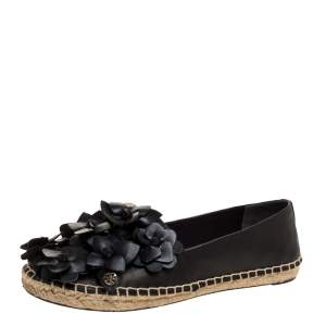 Tory Burch Black Leather Blossom Floral Applique Espadrilles Size 38