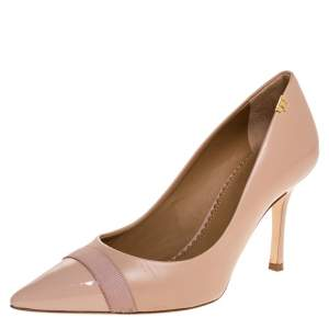 Tory Burch Pink Leather And Patent Cap Toe Penelope Pumps Size 36