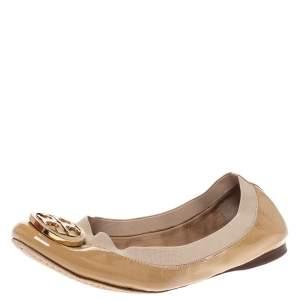 Tory Burch Beige Patent Leather Caroline Ballet Flats Size 39.5