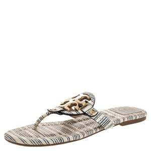 Tory Burch White/Blue Striped Snakeskin Embossed Miller Flat Thong Sandals Size 39.5