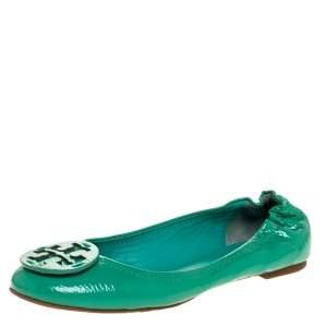 Tory Burch Green Patent Leather Reva Tumbled Ballet Flats Size 39