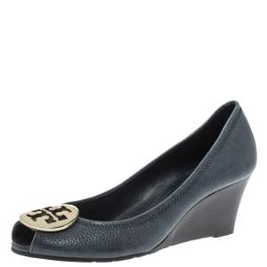 Tory Burch Navy Blue Leather Julianne Peep Toe Wedge Pumps Size 37.5