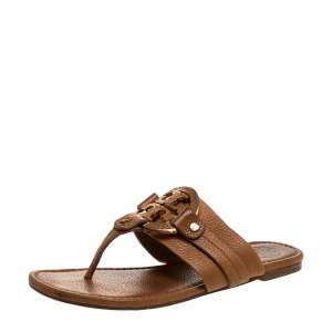 Tory Burch Brown Leather Flat Thong Sandals Size 37