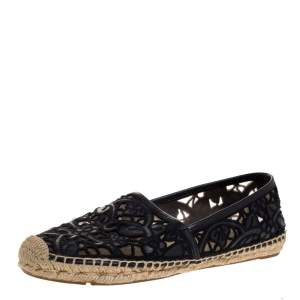 Tory Burch Black Cotton Lace and Leather Jackie Espadrilles Size 38