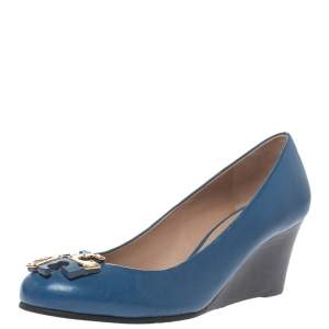 Tory Burch Blue Leather Logo Wedge Pumps Size 36.5