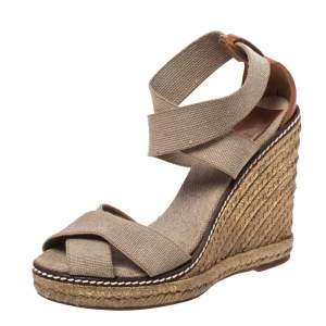 Tory Burch Ivory/Brown Elastic Band Adonis Wedge Espadrille Sandals Size 35