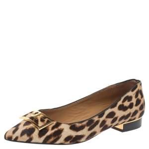 Tory Burch Brown Animal Print Calf Hair Gigi Ballet Flats Size 35.5