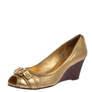 Tory Burch Gold Textured Leather Wedge Peep Toe Pumps Size 38