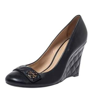 Tory Burch Black Leather Logo Wedge Pumps Size 41