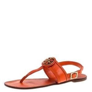 Tory Burch Orange Leather Bryce Slingback Thong Flat Sandals Size 39.5