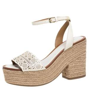 Tory Burch White Laser Cut Out Leather Espadrille Platform Ankle Strap Sandals Size 36