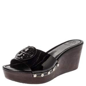 Tory Burch Black Patent Leather Wedge Open Toe Clog Sandals Size 40