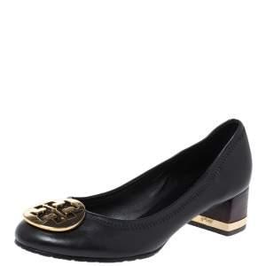 Tory Burch Black Leather Janey Block Heel Pumps Size 36