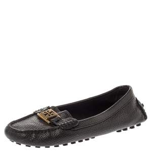 Tory Burch Black Leather Slip On Loafers Size 39