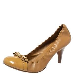 Tory Burch Tan Leather Romy Cap Toe Pumps Size 39